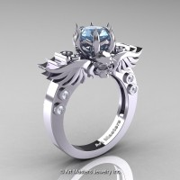 Art Masters Classic Winged Skull 14K White Gold 1.0 Ct Aquamarine Diamond Solitaire Engagement Ring R613-14KWGDAQ