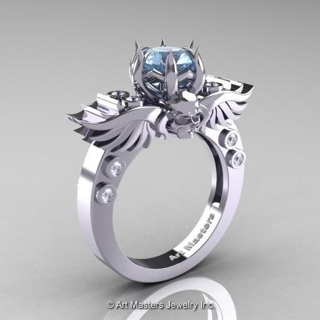 Art-Masters-Winged-Skull-14K-White-Gold-1-Carat-Aquamarine-Diamond-Engagement-Ring-R613-14KWGDAQ-P