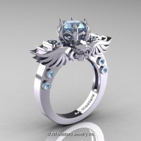 Art Masters Classic Winged Skull 10K White Gold 1.0 Ct Aquamarine Solitaire Engagement Ring R613-10KWGAQ