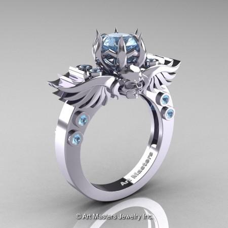 Art-Masters-Winged-Skull-14K-White-Gold-1-Carat-Aquamarine-Engagement-Ring-R613-14KWGAQ-P