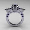 Art-Masters-Winged-Skull-14K-White-Gold-1-Carat-Black-Diamond-Blue-Sapphire-Engagement-Ring-R613-14KWGBSBD-F