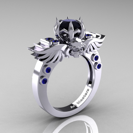 Art-Masters-Winged-Skull-14K-White-Gold-1-Carat-Black-Diamond-Blue-Sapphire-Engagement-Ring-R613-14KWGBSBD-P