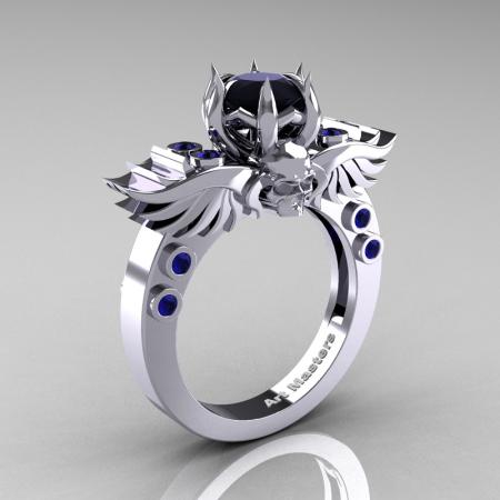Art-Masters-Winged-Skull-14K-White-Gold-1-Carat-Black-Diamond-Blue-Sapphire-Engagement-Ring-R613-14KWGBSBD-P
