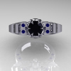 Art-Masters-Winged-Skull-14K-White-Gold-1-Carat-Black-Diamond-Blue-Sapphire-Engagement-Ring-R613-14KWGBSBD-T