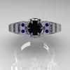 Art-Masters-Winged-Skull-14K-White-Gold-1-Carat-Black-Diamond-Blue-Sapphire-Engagement-Ring-R613-14KWGBSBD-T