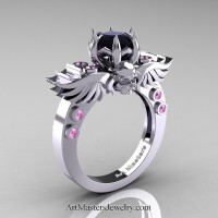 Art Masters Classic Winged Skull 14K White Gold 1.0 Ct Black Diamond Light Pink Sapphire Solitaire Engagement Ring R613-14KWGLPSBD