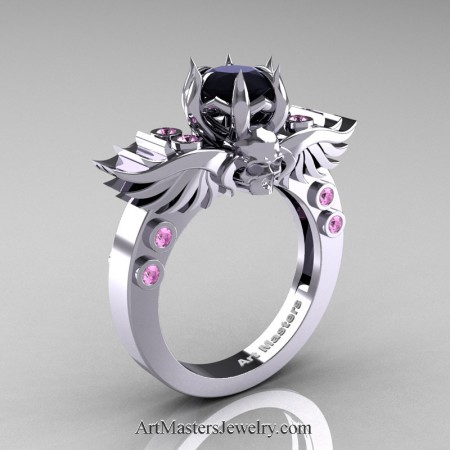 Art-Masters-Winged-Skull-14K-White-Gold-1-Carat-Black-Diamond-Light-Pink-Sapphire-Engagement-Ring-R613-14KWGLPSBD-P2