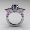 Art-Masters-Winged-Skull-14K-White-Gold-1-Carat-Black-Diamond-Pink-Sapphire-Engagement-Ring-R613-14KWGPSBD-F
