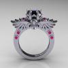 Art-Masters-Winged-Skull-14K-White-Gold-1-Carat-Black-Diamond-Pink-Sapphire-Engagement-Ring-R613-14KWGPSBD-F
