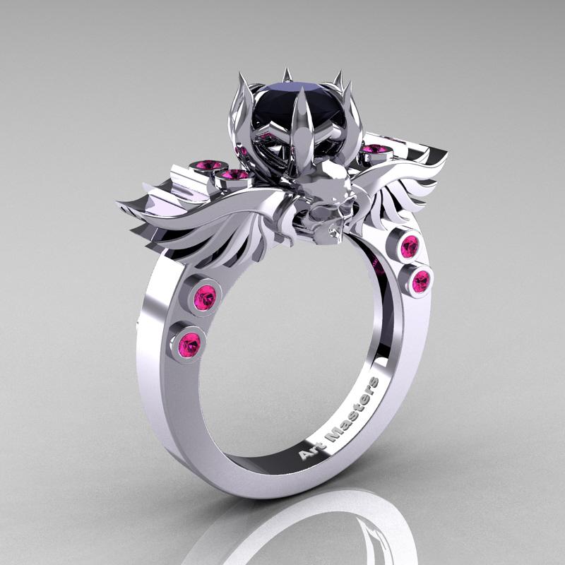 Art Masters Classic Winged Skull 14K White Gold 1 0 Ct Black Diamond Pink Sap