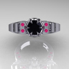 Art-Masters-Winged-Skull-14K-White-Gold-1-Carat-Black-Diamond-Pink-Sapphire-Engagement-Ring-R613-14KWGPSBD-T