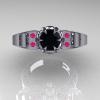 Art-Masters-Winged-Skull-14K-White-Gold-1-Carat-Black-Diamond-Pink-Sapphire-Engagement-Ring-R613-14KWGPSBD-T