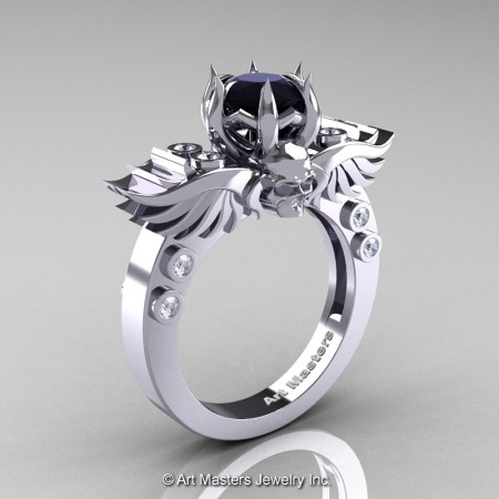 Art-Masters-Winged-Skull-14K-White-Gold-1-Carat-Black-White-Diamond-Engagement-Ring-R613-14KWGDBD-P2