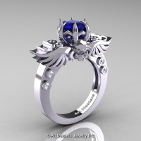 Art Masters Classic Winged Skull 14K White Gold 1.0 Ct Royal Blue Sapphire Diamond Solitaire Engagement Ring R613-14KWGDBS