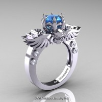 Art Masters Classic Winged Skull 14K White Gold 1.0 Ct Blue Topaz Diamond Solitaire Engagement Ring R613-14KWGDBT