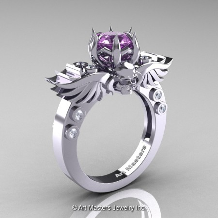 Art-Masters-Winged-Skull-14K-White-Gold-1-Carat-Lilac-Amethyst-Diamond-Engagement-Ring-R613-14KWGDLAM-P