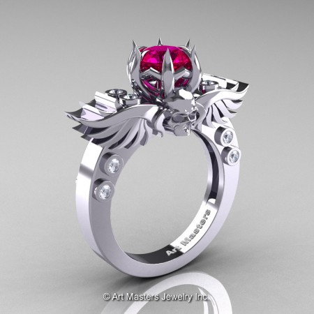 Art-Masters-Winged-Skull-14K-White-Gold-1-Carat-Rose-Ruby-Diamond-Engagement-Ring-R613-14KWGDRR-P
