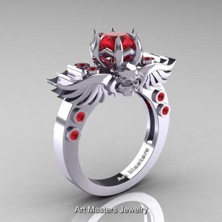 Art-Masters-Winged-Skull-14K-White-Gold-1-Carat-Ruby-Engagement-Ring-R613-14KWGR-P