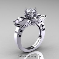Art Masters Classic Winged Skull 14K White Gold 1.0 Ct White CZ Black Diamond Solitaire Engagement Ring R613-14KWGBDCZ