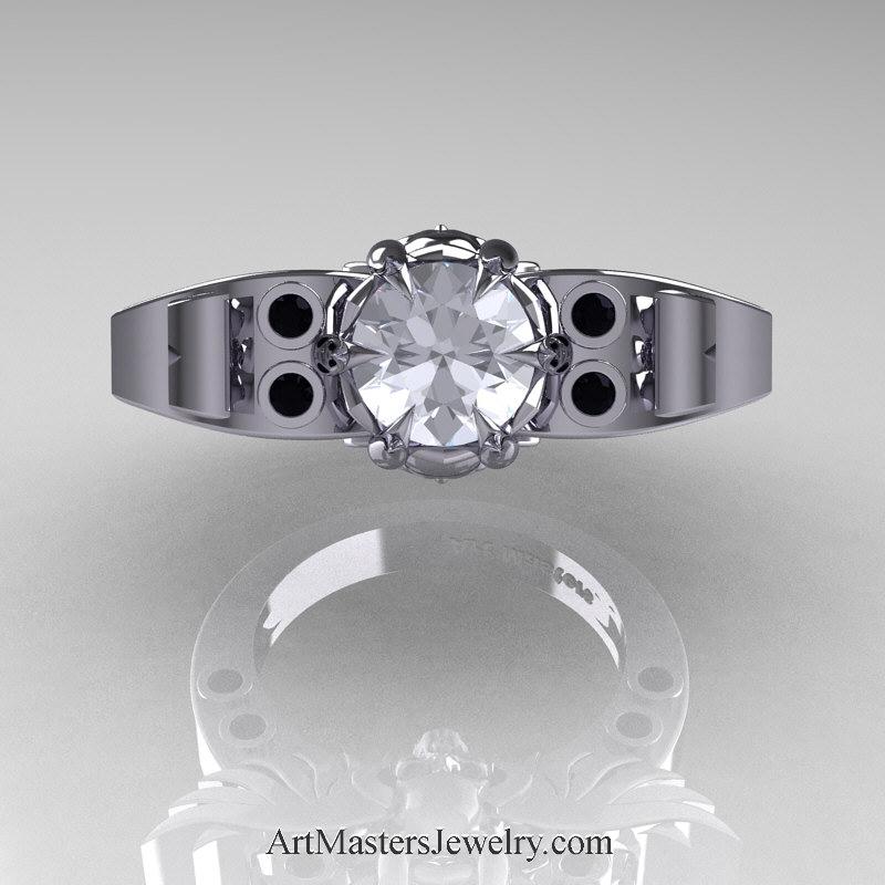 Art Masters Classic Winged Skull 14K White Gold 1 0 Ct White CZ Black Diamond