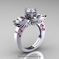 Art Masters Classic Winged Skull 14K White Gold 1.0 Ct White CZ Pink Sapphire Solitaire Engagement Ring R613-14KWGPSCZ Perspective