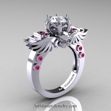 Art-Masters-Winged-Skull-14K-White-Gold-1-Carat-White-CZ-Pink-Sapphire-Engagement-Ring-R613-14KWGPSWCZ-P