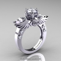 Art Masters Classic Winged Skull 14K White Gold 1.0 Ct White Sapphire Diamond Solitaire Engagement Ring R613-14KWGDWS
