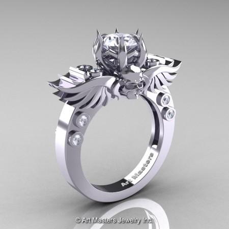 Art-Masters-Winged-Skull-14K-White-Gold-1-Carat-White-Sapphire-Diamond-Engagement-Ring-R613-14KWGDWS-P
