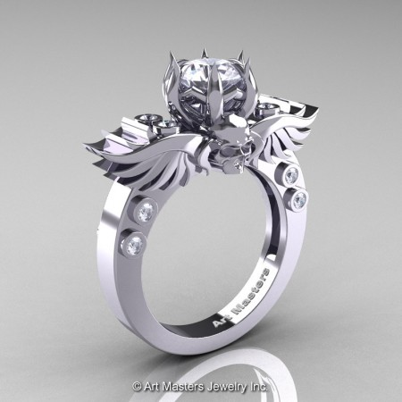 Art-Masters-Winged-Skull-14K-White-Gold-1-Carat-White-Sapphire-Diamond-Engagement-Ring-R613-14KWGDWS-P2