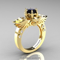 Art Masters Classic Winged Skull 14K Yellow Gold 1.0 Ct Black White Diamond Solitaire Engagement Ring R613-14KYGDBD
