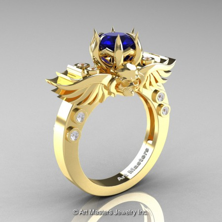 Art-Masters-Winged-Skull-14K-Yellow-Gold-1-Carat-Blue-Sapphire-Diamond-Engagement-Ring-R613-14KYGDBS-P2