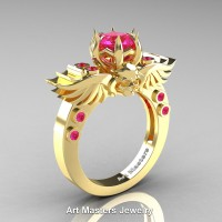 Art Masters Classic Winged Skull 10K Yellow Gold 1.0 Ct Pink Sapphire Solitaire Engagement Ring R613-10KYGPS