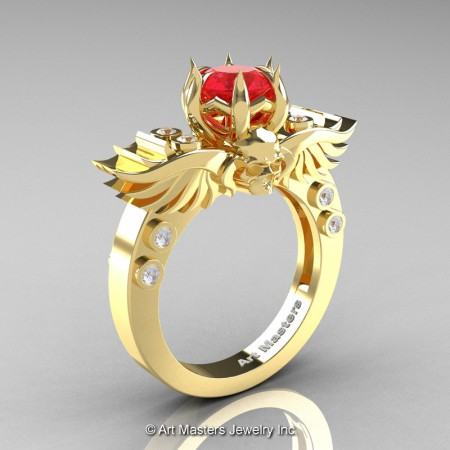 Art-Masters-Winged-Skull-14K-Yellow-Gold-1-Carat-Ruby-Diamond-Engagement-Ring-R613-14KYGDR-P