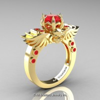 Art Masters Classic Winged Skull 10K Yellow Gold 1.0 Ct Rubies Solitaire Engagement Ring R613-10KYGR