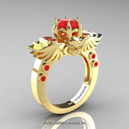 Art-Masters-Winged-Skull-14K-Yellow-Gold-1-Carat-Ruby-Engagement-Ring-R613-14KYGR-P