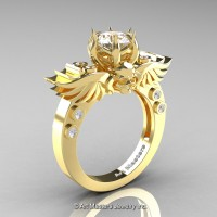 Art Masters Classic Winged Skull 10K Yellow Gold 1.0 Ct White Sapphire Solitaire Engagement Ring R613-10KYGWS