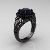 High Fashion 14K Black Gold 3.0 Ct Black Diamond Designer Wedding Ring R407-14KBGBD