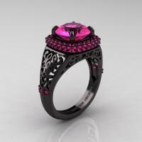 High Fashion 14K Black Gold 3.0 Ct Pink Sapphire Designer Wedding Ring R407-14KBGPS