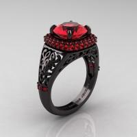 High Fashion 14K Black Gold 3.0 Ct Rubies Designer Wedding Ring R407-14KBGR