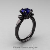 Modern Antique 14K Black Gold 1.5 Carat Blue Sapphire Solitaire Engagement Ring AR127-14KBGBS