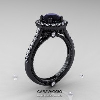 Caravaggio 14K Black Gold 1.0 Ct Black Moissanite Diamond Engagement Ring Wedding Ring R621-14KBGDBM