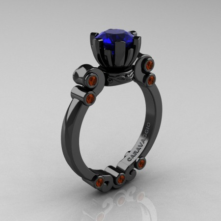 Caravaggio-14K-Black-Gold-1-Ct-Blue-Sapphire-Brown-Diamond-Solitaire-Engagement-Ring-R607-14KBGBRDBS-P
