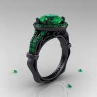 Caravaggio 14K Black Gold 3.0 Ct Emerald Engagement Ring Wedding Ring R620-14KBGEM