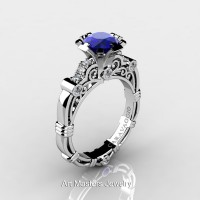 Art Masters Caravaggio 14K White Gold 1.0 Ct Blue Sapphire Diamond Engagement Ring R623-14KWGDBS