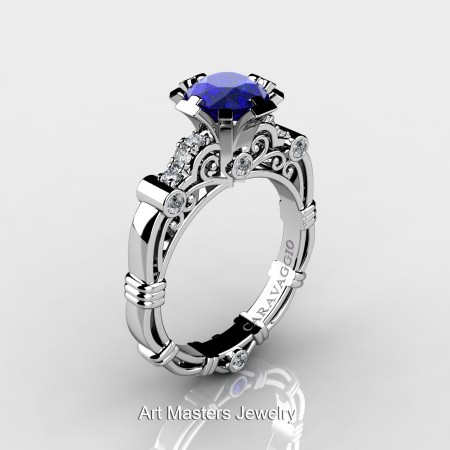Caravagio-Jewelry-14K-White-Gold-1-Carat-Blue-Sapphire-Diamond-Engagement-Ring-R623-14KWGDBS-P