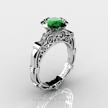 Caravagio-Jewelry-14K-White-Gold-1-Carat-Emerald-Diamond-Engagement-Ring-R623-14KWGDEM-P