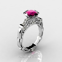 Art Masters Caravaggio 14K White Gold 1.0 Ct Pink Sapphire Diamond Engagement Ring R623-14KWGDPS