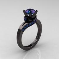 Classic 14K Black Gold 1.0 Ct Chrysoberyl Alexandrite Designer Solitaire Ring R259-14KBGAL