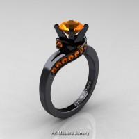 Classic 14K Black Gold 1.0 Ct Orange Sapphire Designer Solitaire Ring R259-14KBGOS