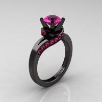 Classic 14K Black Gold 1.0 Ct Pink Sapphire Designer Solitaire Ring R259-14KBGPS